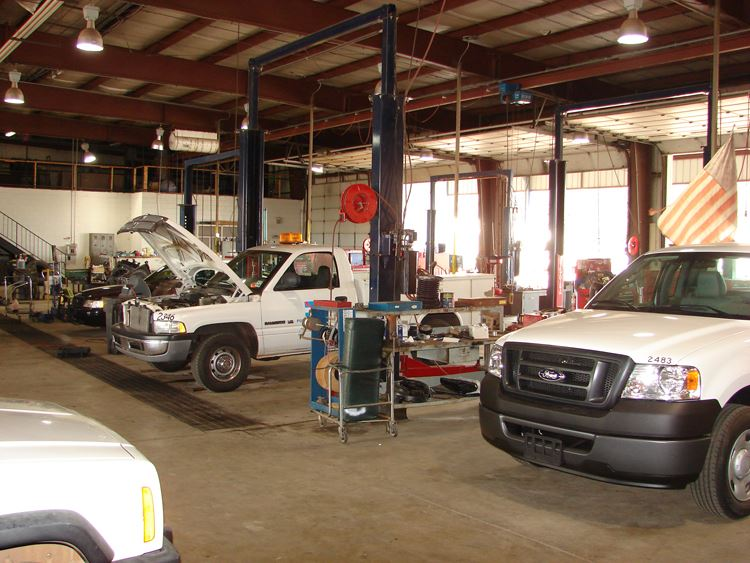 Cars Being Worked on by Fleet Services