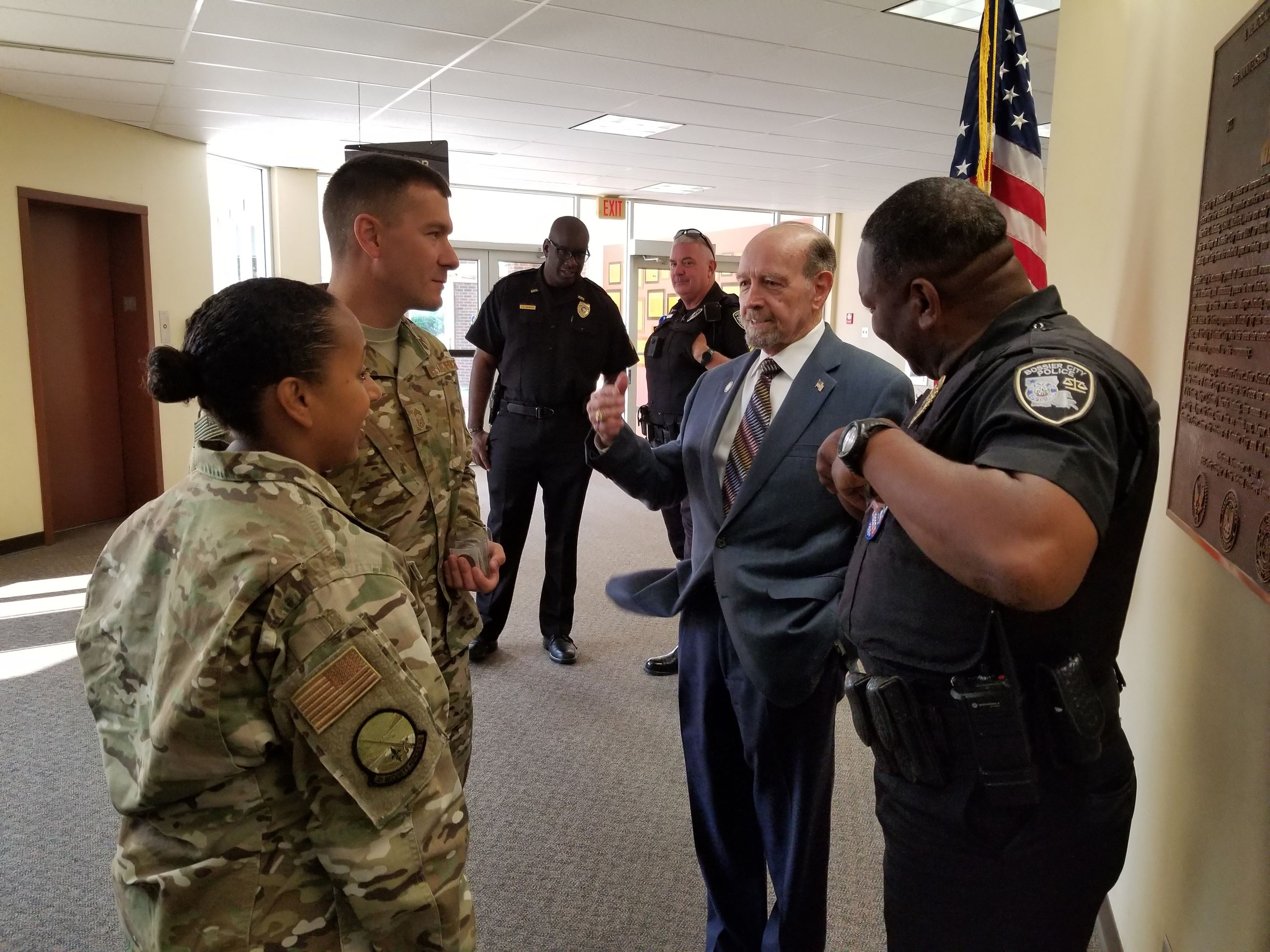 Mayor Walker Chats with AF and Police Personnel