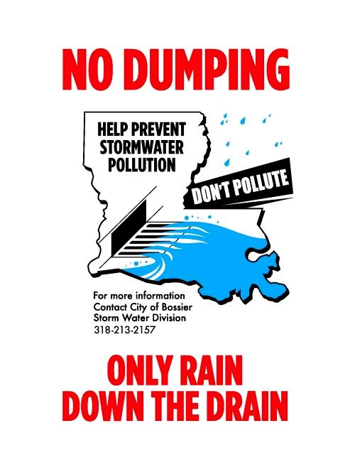 No dumping. Only rain down the drain.